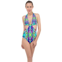 Colorful 60 Halter Front Plunge Swimsuit