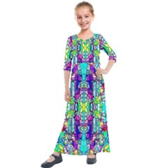 Colorful 60 Kids  Quarter Sleeve Maxi Dress