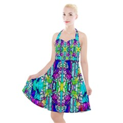 Colorful 60 Halter Party Swing Dress