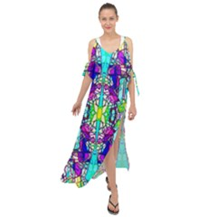 Colorful 60 Maxi Chiffon Cover Up Dress