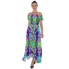 Colorful 60 Off Shoulder Open Front Chiffon Dress
