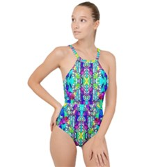 Colorful 60 High Neck One Piece Swimsuit