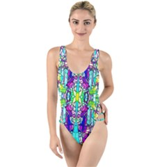 Colorful 60 High Leg Strappy Swimsuit
