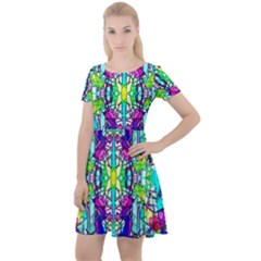 Colorful 60 Cap Sleeve Velour Dress
