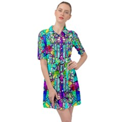 Colorful 60 Belted Shirt Dress