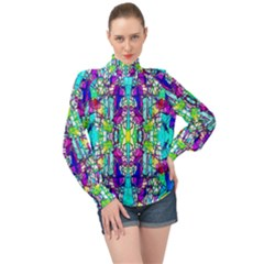 Colorful 60 High Neck Long Sleeve Chiffon Top