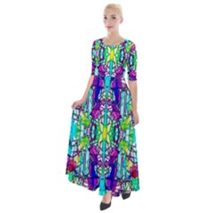 Colorful 60 Half Sleeves Maxi Dress