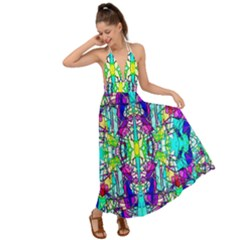 Colorful 60 Backless Maxi Beach Dress