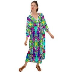 Colorful 60 Grecian Style  Maxi Dress