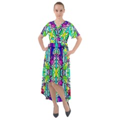 Colorful 60 Front Wrap High Low Dress