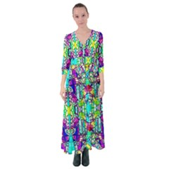Colorful 60 Button Up Maxi Dress