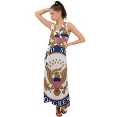 Seal Of United States Congress V Neck Chiffon Maxi Dress