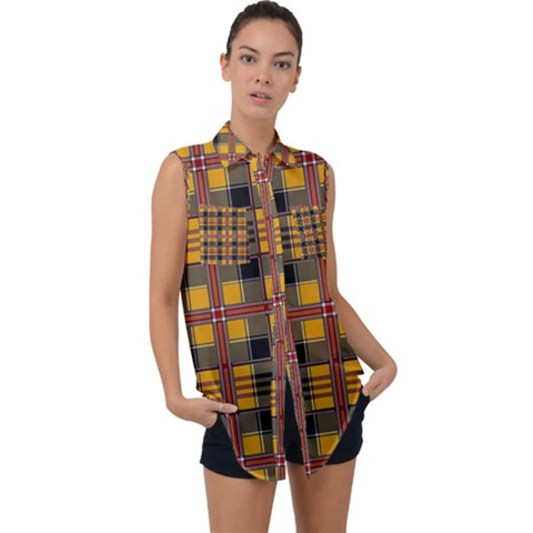Plaid 5 Sleeveless Chiffon Button Shirt by ArtworkByPatrick