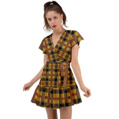 Plaid 5 Flutter Sleeve Wrap Dress
