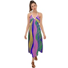 Wavy Scribble Abstract Halter Tie Back Dress