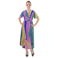 Wavy Scribble Abstract Front Wrap High Low Dress by bloomingvinedesign