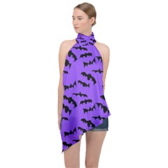 Bats Pattern Halter Asymmetric Satin Top by bloomingvinedesign
