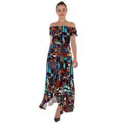 Colorful 66 Off Shoulder Open Front Chiffon Dress by ArtworkByPatrick