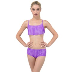 Purple Lavender Splash Layered Top Bikini Set