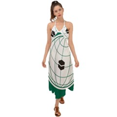 Emblem Of The Organization Of Islamic Cooperation Halter Tie Back Dress