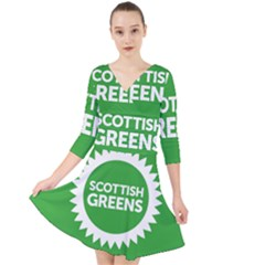 Flag Of Scottish Green Party Quarter Sleeve Front Wrap Dress by abbeyz71