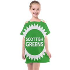 Flag Of Scottish Green Party Kids  One Piece Chiffon Dress