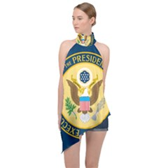 Flag Of The Executive Office Of The President Of The United States Halter Asymmetric Satin Top