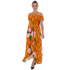Sahara Street Bea Orange Off Shoulder Open Front Chiffon Dress