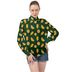 Ice Cream Pattern Background Design High Neck Long Sleeve Chiffon Top