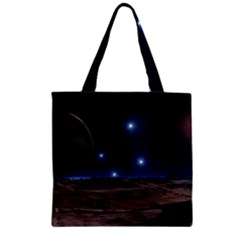 Lunar Landscape Star Brown Dwarf Zipper Grocery Tote Bag by Simbadda