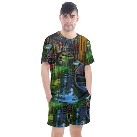 Venice City Italy Architecture Men s Mesh Tee And Shorts Set by Simbadda