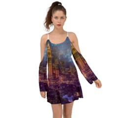 City Lights Skyline Buildings Kimono Sleeves Boho Dress