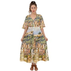 Architecture Town Travel Water Kimono Sleeve Boho Dress