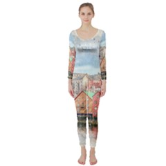 Architecture City Buildings River Long Sleeve Catsuit