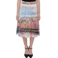 Architecture City Buildings River Classic Midi Skirt
