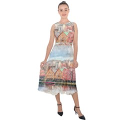 Architecture City Buildings River Midi Tie Back Chiffon Dress
