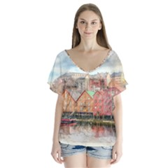 Architecture City Buildings River V Neck Flutter Sleeve Top