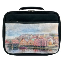 Architecture City Buildings River Lunch Bag