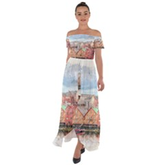 Architecture City Buildings River Off Shoulder Open Front Chiffon Dress
