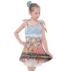 Architecture City Buildings River Kids  Tie Up Tunic Dress