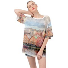 Architecture City Buildings River Oversized Chiffon Top