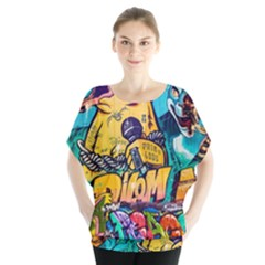 Graffiti Street Art Mountains Wall Batwing Chiffon Blouse