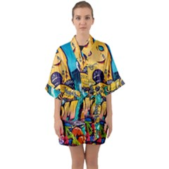 Graffiti Street Art Mountains Wall Half Sleeve Satin Kimono