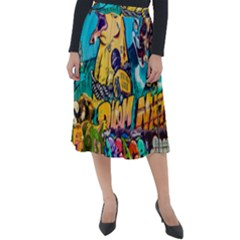 Graffiti Street Art Mountains Wall Classic Velour Midi Skirt