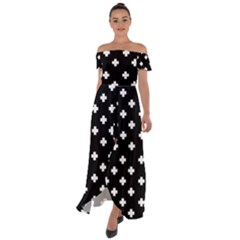 Swiss Cross Pattern Off Shoulder Open Front Chiffon Dress