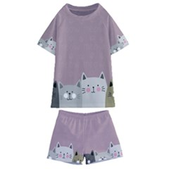 Cute Cats Kids  Swim Tee And Shorts Set by Valentinaart