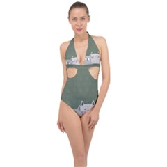 Cute Cats Halter Front Plunge Swimsuit by Valentinaart