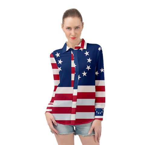 Betsy Ross Flag Long Sleeve Chiffon Shirt by Valentinaart