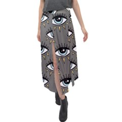 Eyes Pattern Velour Split Maxi Skirt by Valentinaart