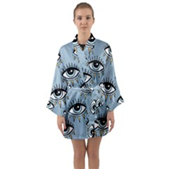 Eyes Pattern Long Sleeve Satin Kimono